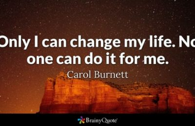 A quote from Carol Burnett with a mountain in the background