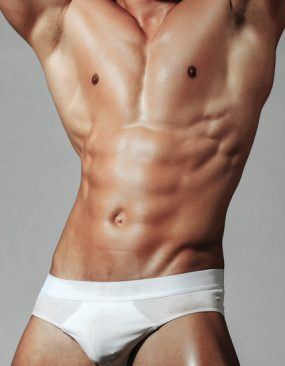Muscular man with white briefs